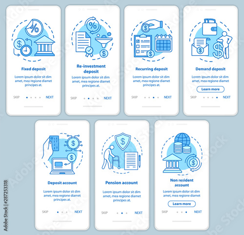 Fototapeta Savings, deposit investment onboarding mobile app page screen with linear concepts. Different deposit types. Walkthrough steps graphic instructions set. UX, UI, GUI vector template with illustrations obraz