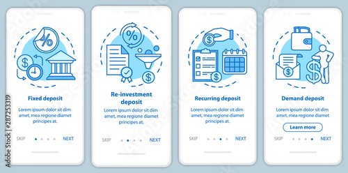 Fototapeta Savings, deposit investment onboarding mobile app page screen with linear concepts. Different deposit types. Four walkthrough steps graphic instructions. UX, UI, GUI vector template with illustrations obraz