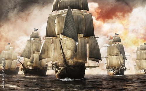 Front view of a raider pirate ship fleet piercing through the smoke and the fog after a successful attack leaving destruction behind Wallpaper Mural