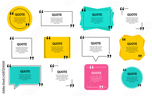 Quote box frame, big set. Quote box icon. Texting quote boxes. Blank template quote text info design boxes quotation bubble blog quotes symbols. Creative vector banner illustration. - 287254304
