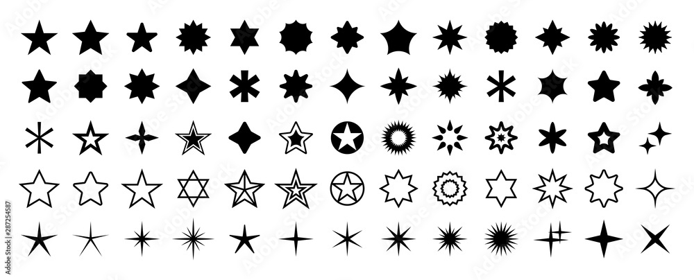 Fototapeta Stars set of 65 black icons. Rating Star icon. Star vector collection. Modern simple stars. Vector illustration.
