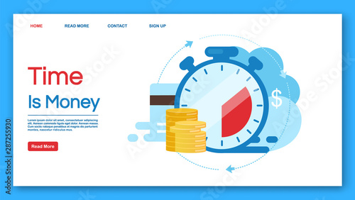 Fototapeta Time is money landing page vector template. Deposit, investment period website interface idea with flat illustrations. Instant payment homepage layout. Loan terms web banner, webpage cartoon concept obraz