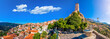 canvas print picture - Scenic view of Arachova Village. Arachova is famous for its panoramic view, uphill small houses and the cobbled streets show a picturesque architecture at Parnassos Mountain,  Greece.