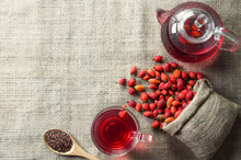 Dried Rose Hip Glass Cup Of He...
