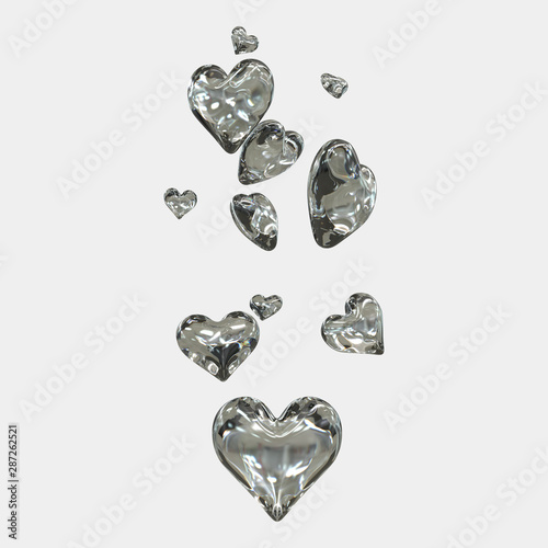 3D hearts arranged in cloud form. 3D rendering - Illustrator Fototapeta