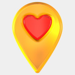 Isolated map pointer with heart . 3D rendering - Illustration