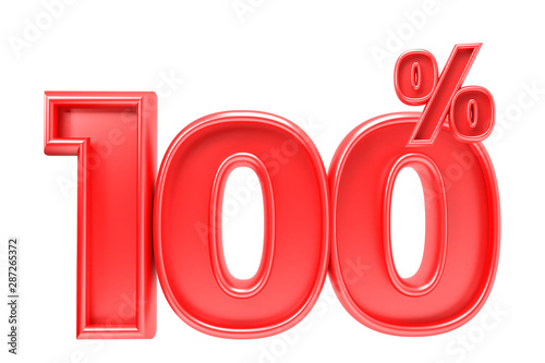 Fotografia  100 percent off. Isolated 3D render on white background