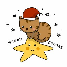 Merry Catmas Cute Cat Wear San...