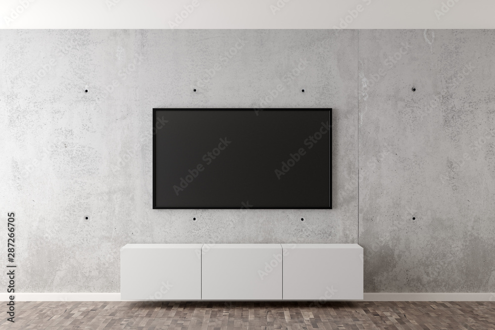 Fototapeta Flat smart tv panel on concrete wall with white sideboard and brown wooden floor - entertainment, media or home television set mock up template with copy space - 3D illustration
