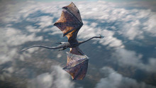 Fast Flying Dragon, Legendary Green Creature High Above The Earth (3d Fantasy Illustration)