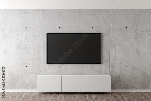 Flat smart tv panel on concrete wall with white sideboard and brown wooden floor Tapéta, Fotótapéta