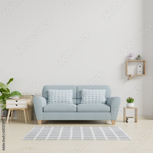 Modern living room interior with sofa and green plants,lamp ...