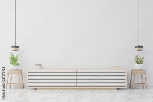 Fotografia  Cabinets and wall for tv in living room, white walls.