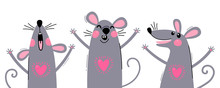 Set Of Funny Rats For Design. ...