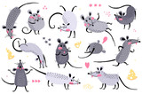 Fototapeta Fototapety na ścianę do pokoju dziecięcego - Set of funny rats for design. Cute little mice in different poses. Merry mouse romp. Vector illustration