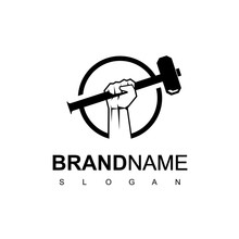 Hand With Hammer For Blacksmith Logo Design Template