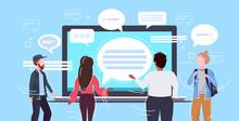 People Using Laptop Computer Messenger Application Chat Bubble Communication Concept Rear View Men Women Chatting Online Speech Conversation Horizontal Portrait