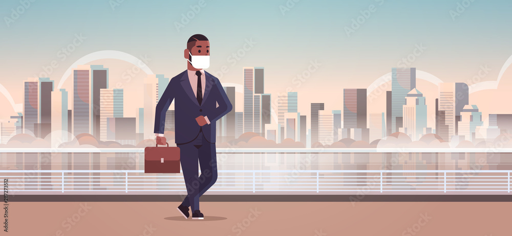 Fototapety, obrazy: businessman wearing face mask toxic gas air pollution industry smog danger polluted environment concept african american business man walking outdoor cityscape skyline full length horizontal