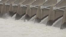 Nimbus Dam American River Water Release Folsom California (spillway Churning Water Shot, Flat, Ungraded, Broadcast Safe)