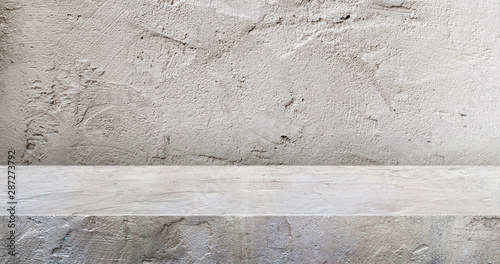Fototapeta grey concrete texture table product display background.3d perspective studio photography stand.banner mokc up space for showcase product.empty countertop backdrop..buseiness presentation for advertise obraz