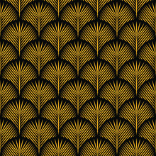 Seamless Black And Gold Vintage Art Deco Floral Peacock Ornate Pattern Vector