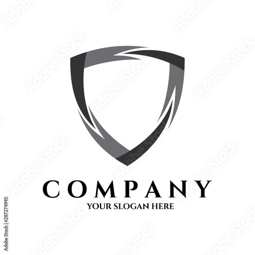 Fotografie, Tablou  shield ribbon logo template ready for use, shielding icon in black and white col