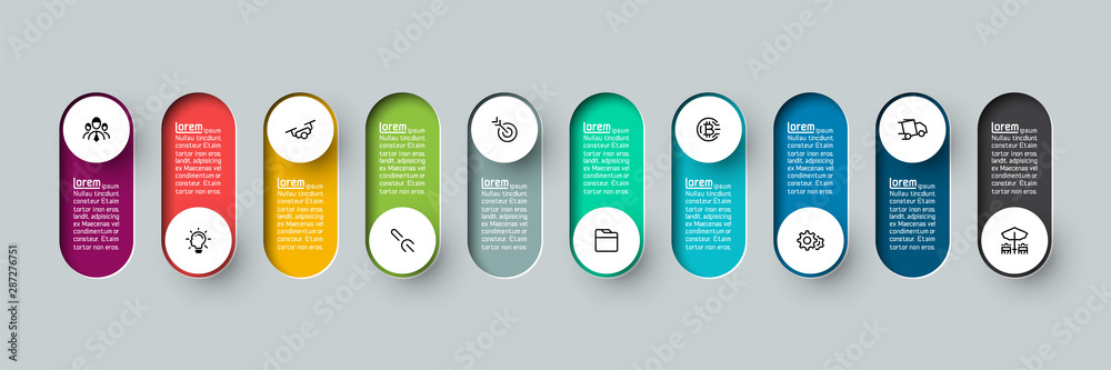 Fototapeta Vector Infographic 3d long circle label, infographic with number 10 options processes.