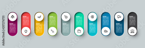 Fototapeta Vector Infographic 3d long circle label, infographic with number 10 options processes. obraz