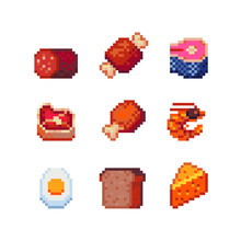 Tiny Pixel Art Food Icons, Sausage, Meat, Fish, Salmon Steak, Chicken, Shrimp, Boiled Egg, Bread, Cheese Piece. Design For Logo, Sticker And Mobile App. Isolated Vector Illustration.