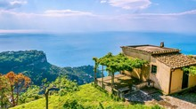 Street View Of A House And Pergola Overlooking The Mediterranean Sea, On The Amalfi Coast In Italy.