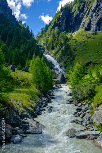 Printed kitchen splashbacks Forest river Waterfall in Valley Umbaltal, East Tyrol, Austria
