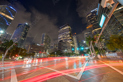 Stampa su Tela Brickell Avenue business district at night with trailing car lights