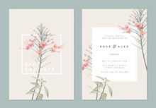 Botanical Wedding Invitation Card Template Design, Pink Peacock Flowers With White Frame On Light Brown, Vintage Pastel Theme