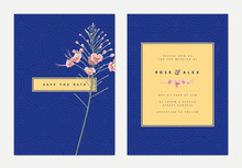 Minimalist Botanical Wedding Invitation Card Template Design, Pink Peacock Flowers With Golden Frame On Blue