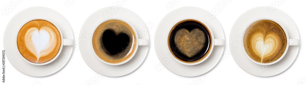 Fototapeta coffee cup assortment with heart sign top view collection isolated on white background.