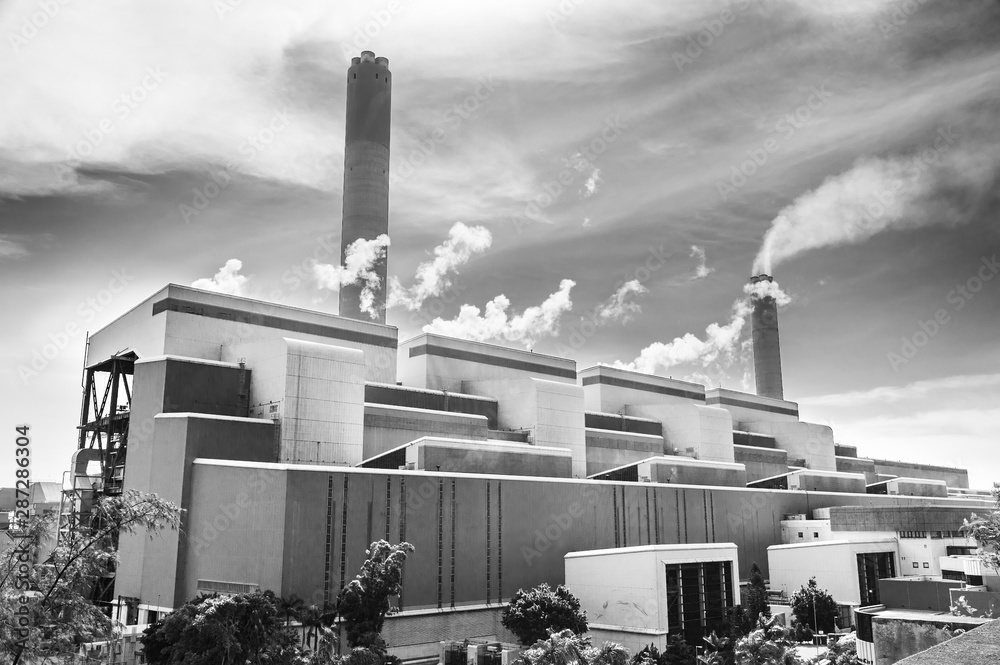 Fototapeta Power plant in Hong Kong city. Industrial background