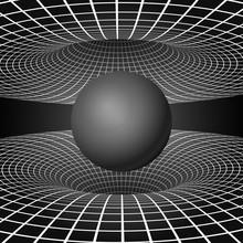 Physics - Anomalous Black Hole Phenomenon. Warp Time And Space. Sci-fi Background. Vector Illustration