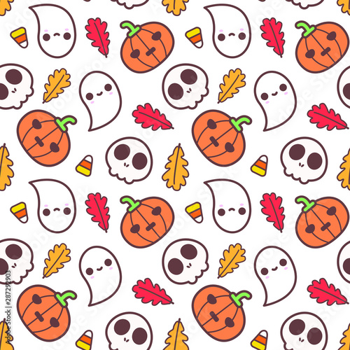Halloween Pattern Wallpaper.Seamless Halloween Pattern Cute Halloween Elements For Greeting Card Gift Box Wallpaper Fabric Web Design Isolated On White Stock Vector Adobe Stock