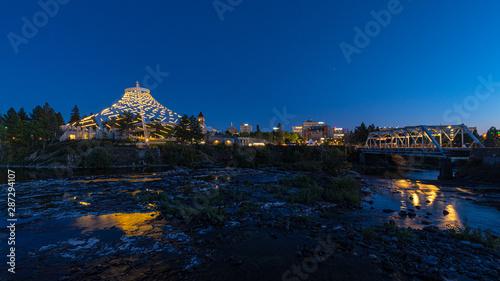 Foto auf AluDibond Blaue Nacht Spokane, WA Skyline