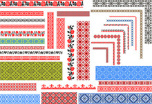 Set Of Editable Ukrainian Traditional Seamless Ethnic Patterns For Embroidery Stitch. Floral And Geometric Ornaments.