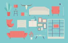 Furniture For The Interior. Flat Design Style Minimal Vector Illustration.