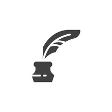 Quill And Ink Bottle Vector Ic...