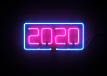 New Year 2020 Made From Neon A...