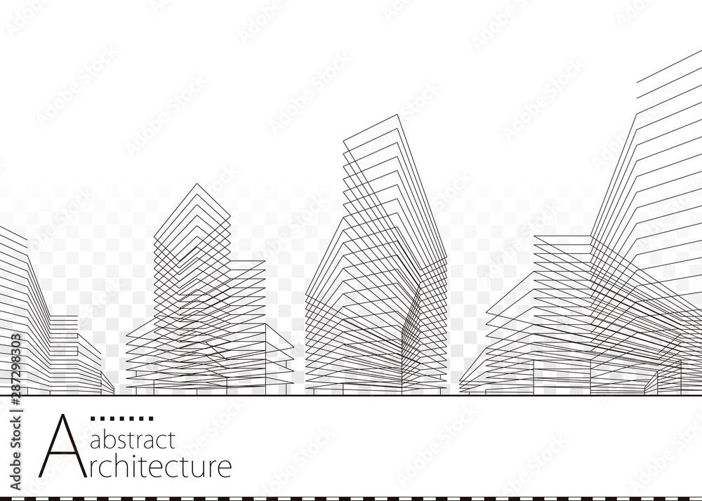 Fototapeta Architecture building construction urban 3D design abstract background.