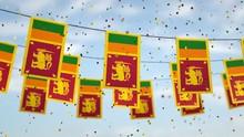 Sri Lanka Flags In The Sky Wit...