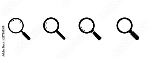 Obraz Search icons. Set of magnifying glass icons. Magnifier or loupe sign set. search icon Concept for finding people to work. - fototapety do salonu