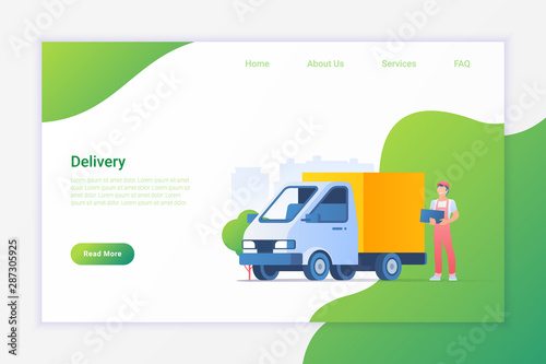 Delivery Truck and Man with Boxes Flat Vector Illustration design concept.