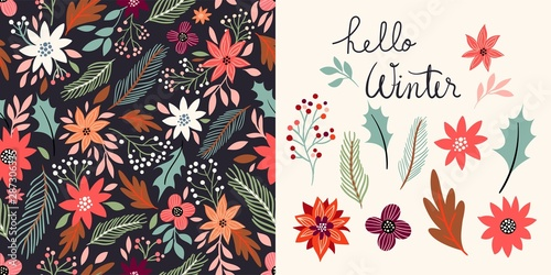 Recess Fitting Pattern Winter set with seamless pattern and floral elements collection, vector design