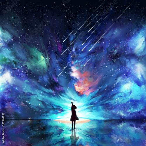 Abstract silhouette woman standing on water reflection of space, meteor and orbit - 287306355