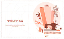Sewing Studio Concept. Tailor Create Outfit And Apparel, Assistant Working With Mannequin. Creative Atelier Web Page. Editable Vector Illustration.